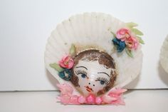 Vintage Hand Painted Sea Shell Doll Faces from debscedarchest on Ruby Lane
