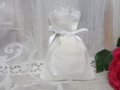 Linen favor bags Lace favor bags 60 Wedding gift by LINENSPRING