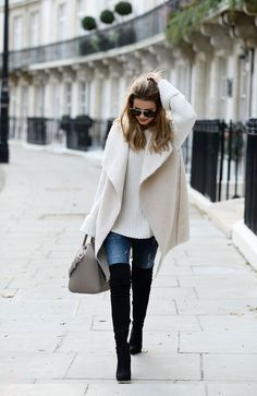 Winter / Fall Fashion fall / winter - street style - street chic style - casual outfits - fall outfits - winter outfits - white shearling vest + white oversized sweater + black over the knee boots + skinny jeans + grey handbag + aviator sunglasses Mode Outfits, Casual Outfits, Fashion Outfits, Womens Fashion, Fashion Trends, Office Outfits, Fashion 2016, Sweater Outfits, Runway Fashion