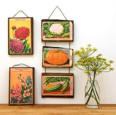 free printables mounted on wood to hang on the wall (A Piece of Rainbow)