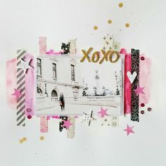 12 x 12 SCRAPBOOK LAYOUT ~ Love the muted colours in the photo and the pink & black strips.