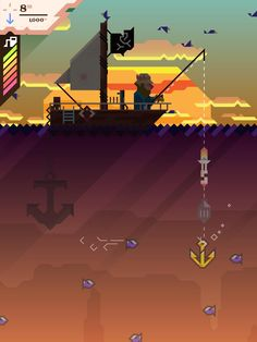 Ridiculous Fishing from Vlambeer. Looks like Fishing Derby meets Fez!