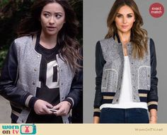 Emily's grey and blue leather-sleeved varsity jacket and top on Pretty Little Liars Fandom Fashion, Fashion Tv, Dope Fashion, Fashion Outfits, Pretty Little Liars Emily, Pretty Little Liars Outfits, Pll Outfits, School Outfits, Rebel Outfit