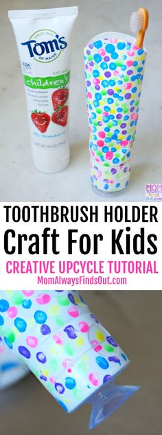 Got empty toothpaste tubes? Check out this upcycled craft for kids! We used Tom's of Maine Silly Strawberry to make a colorful Toothbrush Holder! It is easy and fun to make. #ad