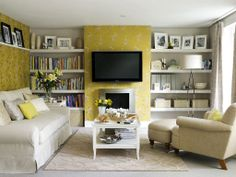 Small living room with fire place, wall TV and yellow floral wall. #KBHome