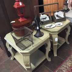 Matching wooden painted end tables Painted End Tables, Small Tables, Painted Side Tables, Small Dining Tables, Painted Pedestal Tables, Side Tables, Painted Coffee Tables