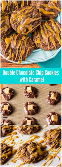 Easy Double Chocolate Chip Cookies with Caramel