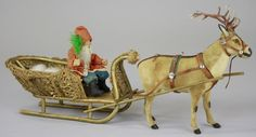 German Santa in loofah sleigh being pulled by a finely executed reindeer candy container, glass eyes and metal antlers Antique Christmas, Christmas Items, Country Christmas, Christmas Candy, Kids Toys, Children's Toys, Feather Tree, Candy Containers, Rabbit Fur