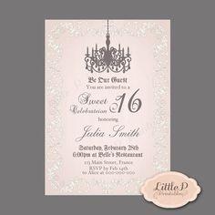 Quinceanera Invitation. Chandelier Invitations. Vintage Pink Quince Invitation. 21st Invitation. Adult Woman Birthday Invitation Digital