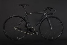 handcrafted fixed gear bike by WLWC is wrapped in black crocodile skin