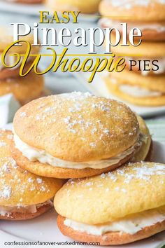 Have you ever wondered if you can make whoopie pies with cake mix? Check out this easy recipe for Pineapple Whoopie Pies. Cake Mix Recipes, Pie Recipes, Dessert Recipes, Desserts, Dessert Ideas, Cookie Recipes, Cream Filling Recipe, Cream Cheese Filling, Pineapple Recipes