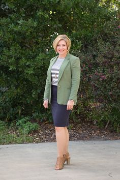 Savvy Southern Chic: More olive and navy, office outfits women business, business attire, work wear, pencil skirt blazer outfit