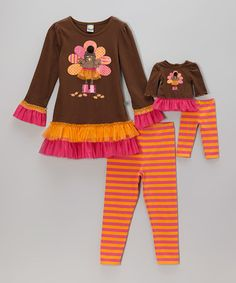 This Orange Turkey Skirted Tunic Set & Doll Outfit - Toddler & Girls by Dollie & Me is perfect! #zulilyfinds