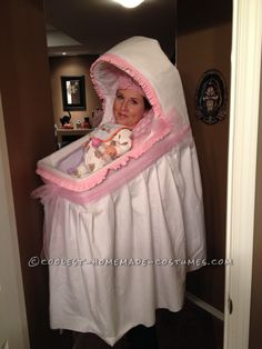 Best Homemade Baby Bassinet Illusion Costume!... Coolest Halloween Costume Contest #homemadecostumes #besthalloweencostumes #halloweencostumes