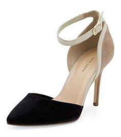 Black Suedette Colour Block Pointed Heels