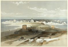 ROBERTS, David and Louis HAGUE. Tsur, ancient Tyre, from the Isthmus #holyland