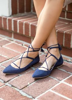 lace up navy suede pointed toe flats Flats Outfit, Shoes Flats Sandals, Lace Up Flats, Teacher Outfits, Teacher Clothes, Navy Wedding Shoes, Women's Feet, Pointed Toe Flats, Classic Outfits