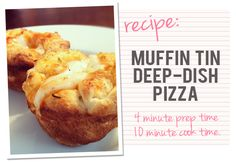 Muffin Tin Deep-Dish Pizza....fast and yummy meal idea. 4 minutes to prep 10 minutes to cook! #recipes