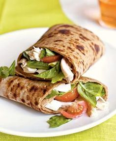 Caprese Wraps w/ Chicken (Cooking Light).  I would take out the chicken, change the tomatoes to heirlooms & add some balsamic vinegar:)  Hurrry up summer!