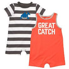 Carter's Boys 2 Pack 'Great Catch' Shark Sunsuit and Romper Set