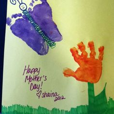 Mothers Day Fathers Day hand footprint flower and butterfly picture