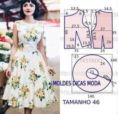 Construção do molde de vestido Maria de Medeiros. O molde deste lindo vestido encontra-se no tamanho 46. O molde de vestido não tem valor de costura.