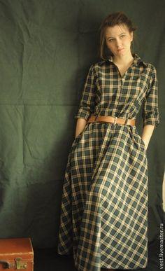 Прогулочное платье-рубашка в изумрудную клетку. - тёмно-зелёный,в клеточку