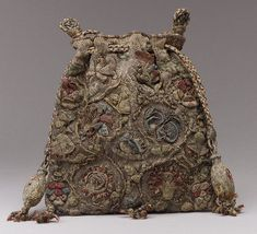 Purse, last quarter of 16th century -- English.  Colored silks with silver and gold thread on linen.