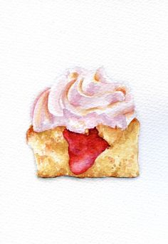 Slice of Raspberry Cupcake  ORIGINAL Painting por ForestSpiritArt