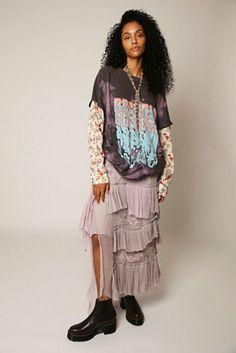 Long Ruffle Lace Skirt   Free People Lace Skirt, Midi Skirt, Sequin Skirt, Order Checks, Autumn Inspiration, Lace Detail, Hemline, Ruffles, Vintage Inspired