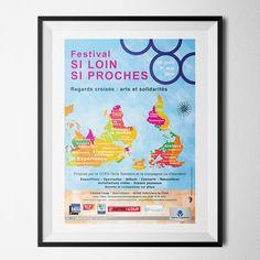 Affiche du festival Si loin, si proches réalisée pour CCFD-Terre Solidaire et la Cie le Chiendent #AgenceCommunication #EntrepriseCommunication #DesignGraphique #Design #Graphisme #CréaPlume #Affiches #CCFD #CieChiendent #SiLoinSiProches