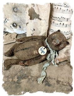 """Image of HOPE : Weathered Tattered BROWN Teddy Bear - 6""""  By Whendi's Bears artist mohair vintage antique style"""