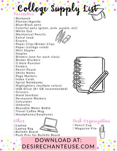 Visit this post to print the ultimate college supply checklist! (No signup required.) // by Desire Chanteuse, Alabama fashion and beauty blogger and YouTuber // tags: college blogger, college life, university, school supplies, office supplies