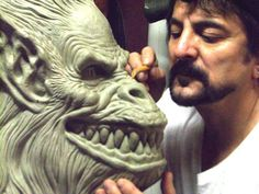 "Tom Savini sculpting the crate monster from ""Creepshow"" (1982). Of all his creations, this one is my personal favorite. ""Just tell it to call you Billie!"""