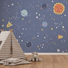 The Little Space Mural is an ideal finishing touch for a kids bedroom or nursery. Easy to apply, the high quality Mural will look great when used to decorate a . Kids Bedroom Wallpaper, Bedroom Murals, Bedroom Themes, Wall Wallpaper, Bedroom Ideas, Bedroom Decor, Playroom Mural, Kids Wall Murals, Murals For Kids