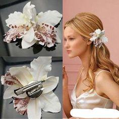 white dazzle Wedding Bridal Flower Orchid Leopard Hair Clip Brooch Pin Barrette  #Generic