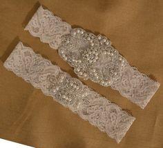 Swarovski Ivory Wedding Garter Set Ivory by HavingFunWithCrafts