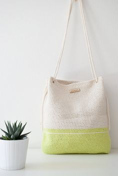 Crochet bag Rome lime and white with rope handles #MyLovelyBag by MyLovelyHook