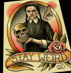 Stay Weird Wednesday Addams Art Print by ParlorTattooPrints #print