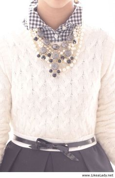 Pretty winter outfit - I love the combination of gingham with the statement necklace! !