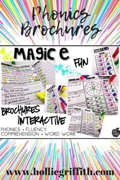 These fluency and comprehension passages are interactive, fun, and perfect for learning and reinforcing CVCe words. While using each brochure, students get the opportunity to learn a new phonics pattern and practice using that spelling pattern in the context of reading for comprehension. Each tri-fold/brochure also incorporates a fun word work activity. #HollieGriffithTeaching #TeacherResources #Literacy #1stGrade #ClassroomFun