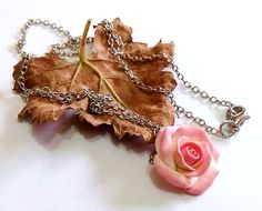Pink Rose Necklace  Rose Pendant Love necklace necklace