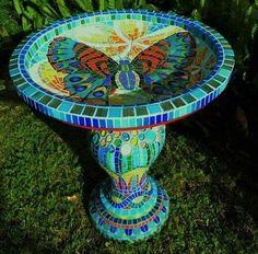 "mosaic birdbath by ""Australian Spring"" Birdbath is by Australian Mosaic Artist Christopher Diaz Mosaic Birdbath, Mosaic Garden Art, Mosaic Glass, Glass Art, Stained Glass, Butterfly Mosaic, Mosaic Birds, Mosaic Art Projects, Mosaic Crafts"