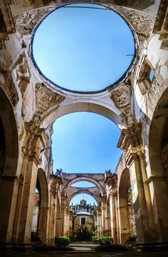 Antigua Guatemala Cathedral, Antigua Guatemala, Guatemala — by Sergio Camalich. Panoramic inside the ruins of Antigua's Cathedral, one of the many buildings that collapsed after the earthquake that...