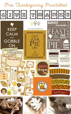 A collection of free Thanksgiving printables!... by Kind Over Matter