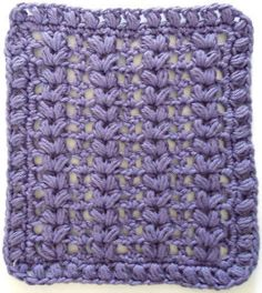 Best Free Crochet » #276 Purple Puffs Crochet Dishcloth – Maggie Weldon Maggies Crochet