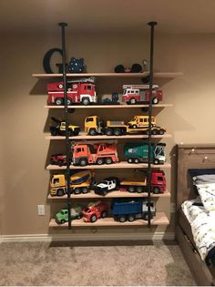 DIY Toy Organizer, DIY Toy Storage Ideas Perfect for small rooms and children!DIY Toy Organizer, DIY Toy Storage Ideas Perfect for small rooms and children! Toy Storage Solutions, Diy Toy Storage, Kids Storage, Truck Storage, Shelving For Kids Room, Toy Storage Shelves, Playroom Shelves, Toy Storage Organizer, Shelves For Toys
