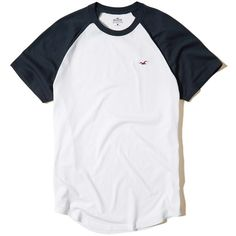 Hollister Must-Have Colorblock Raglan T-Shirt (47 BRL) ❤ liked on Polyvore featuring men's fashion, men's clothing, men's shirts, men's t-shirts, white, mens slim fit white t shirt, mens crew neck t shirts, men's color block shirt, mens white crew neck t shirts and mens raglan t shirt