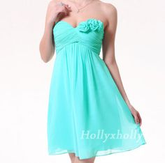 Free Custom Size Bridesmaid Dress/party dress/strapless dress/knee length/ Aqua Blue Strapless Prom/ handmade flower Wedding on Etsy, $77.12