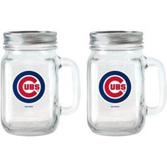 MLB 16 oz Chicago Cubs Glass Jar with Lid and Handle, 2pk, Multicolor